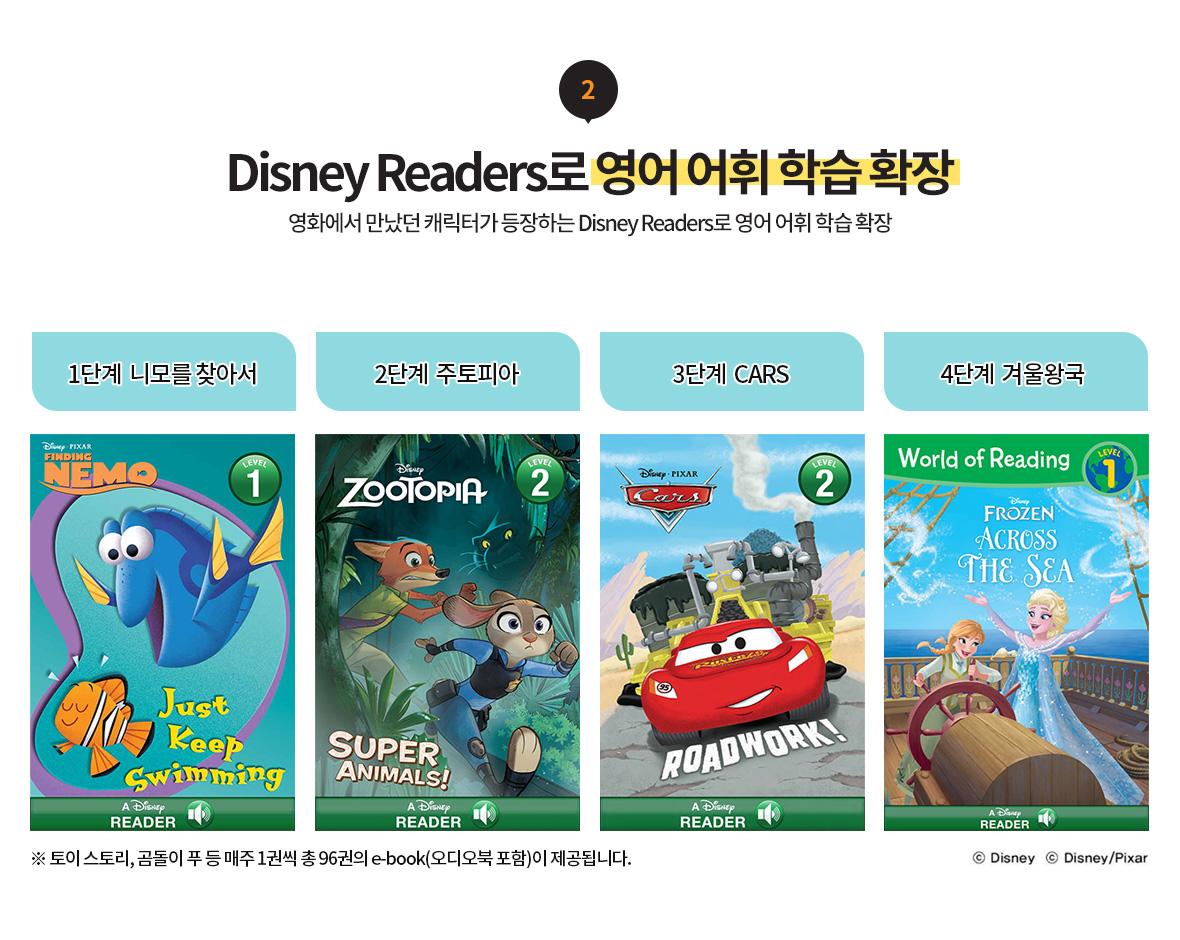 2. Disney Readers로 영어 어휘 학습 확장 영화에서 만났떤 캐릭터가 등장하는 Disney Readers로 영어 어휘 학습 확장, 1단계 니모를 찾아서 2단계 주토피아 3단계 CARS 4단계 겨울왕국 토이 스토리, 곰돌이 푸 등 매주 1권씩 총 96권의 e-book(오디오북 포함)이 제공됩니다.