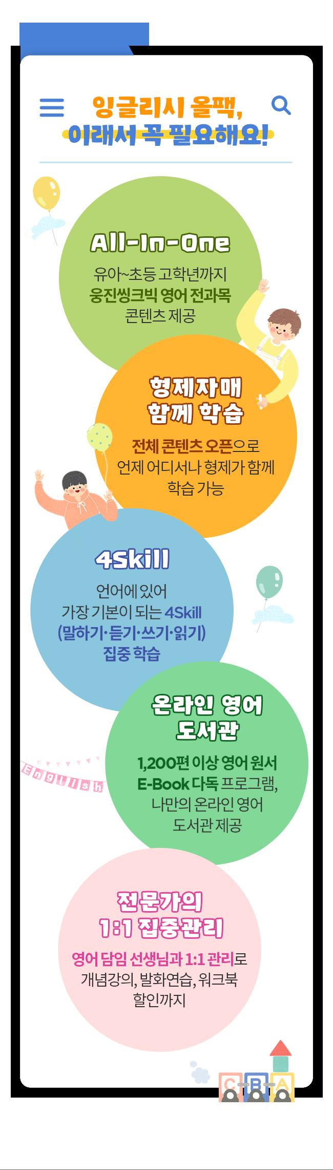 잉글리시 올팩, 이래서 꼭 필요해요! All-In-One 유아-초등 고학년까지 웅진씽크빅 영어 전과목 콘텐츠 제공 형제자매 함께 학습 전체 콘텐츠 오픈으로 언제 어디서나 형제가 함께 학습 가능 4Skill 언어에 있어 가장 기본이 되는 4Skill(말하기, 듣기, 쓰기, 읽기) 집중 학습 온라인 영어 도서관 1,200편 이상 영어 원서 E-Book 다독 프로그램, 나만의 온라인 영어 도서관 제공 전문가의 1:1 집중관리 영어 담임 선생님과 1:1관리로 개념강의, 발화연습, 워크북 할인까지
